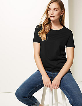 Pure Cotton Round Neck Short Sleeve T-Shirt , BLACK, catlanding