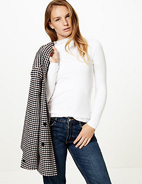 Cotton Rich Funnel Neck Long Sleeve T-Shirt , CREAM, catlanding