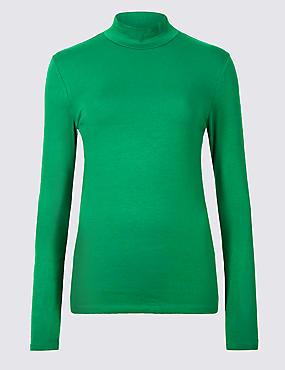 Cotton Rich Funnel Neck Long Sleeve T-Shirt , EMERALD, catlanding