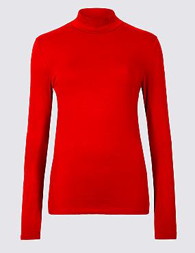 Cotton Rich Funnel Neck Long Sleeve T-Shirt , CHILLI, catlanding