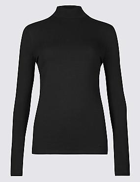 Cotton Rich Funnel Neck Long Sleeve T-Shirt , BLACK, catlanding