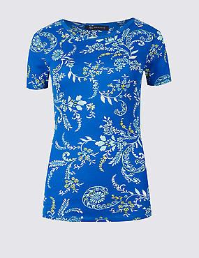 Pure Cotton Floral Print Round Neck T-Shirt , BLUE MIX, catlanding