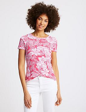 Cotton Rib Crew Neck T-Shirt, PINK MIX, catlanding