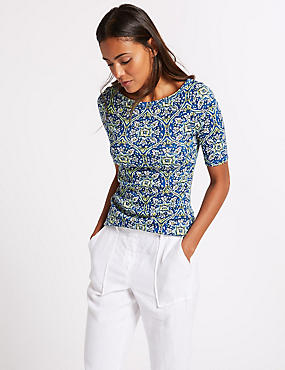 Pure Cotton Printed Half Sleeve T-Shirt , BLUE MIX, catlanding