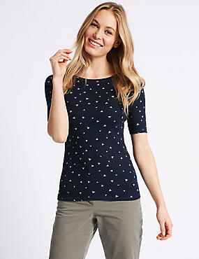 Pure Cotton Printed Half Sleeve T-Shirt , NAVY MIX, catlanding