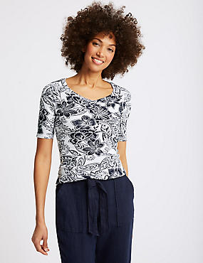 Pure Cotton Floral Print Half Sleeve T-Shirt , NAVY MIX, catlanding