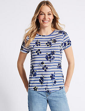 Striped Floral Print Short Sleeve T-Shirt
