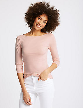 Cotton Rich Slash Neck 3/4 Sleeve T-Shirt , , catlanding