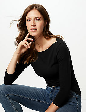 Cotton Rich Slash Neck 3/4 Sleeve T-Shirt , BLACK, catlanding