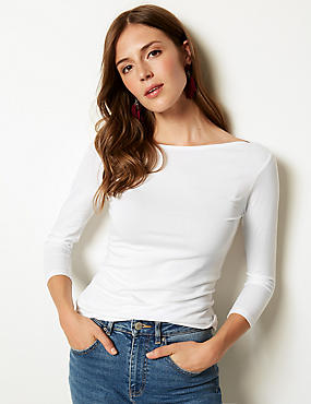 Cotton Stretch Slash Neck 3/4 Sleeve T-Shirt, WHITE, catlanding