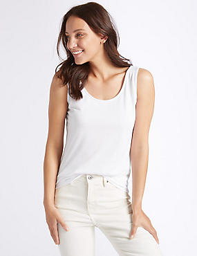 Relaxed Round Neck Vest Top, WHITE, catlanding