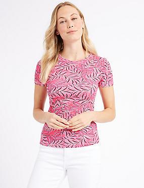 Pure Cotton Printed Short Sleeve T-Shirt , PINK MIX, catlanding