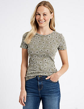 Pure Cotton Floral Print T-Shirt , KHAKI MIX, catlanding