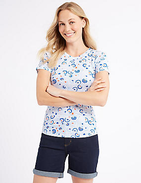 Pure Cotton Printed Short Sleeve T-Shirt , ORANGE MIX, catlanding