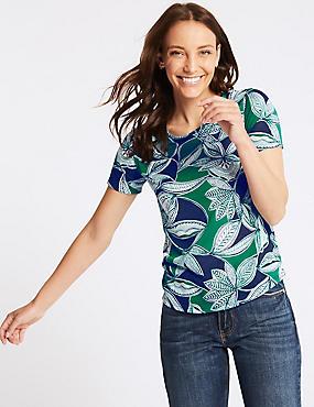 Leaf Print Round Neck Short Sleeve T-Shirt, GREEN MIX, catlanding