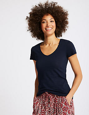 Pure Cotton Lightweight V-Neck T-Shirt, NAVY, catlanding