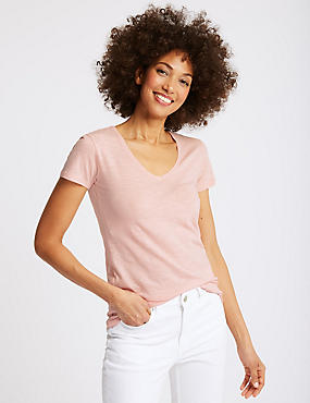 Pure Cotton Lightweight V-Neck T-Shirt, BUBBLEGUM, catlanding