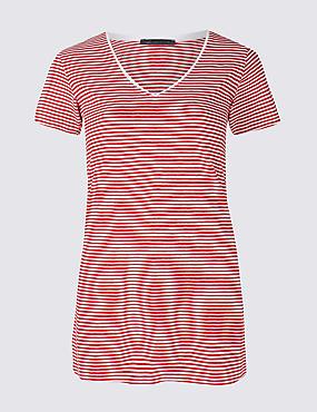 Pure Cotton Striped Short Sleeve T-Shirt, RED MIX, catlanding