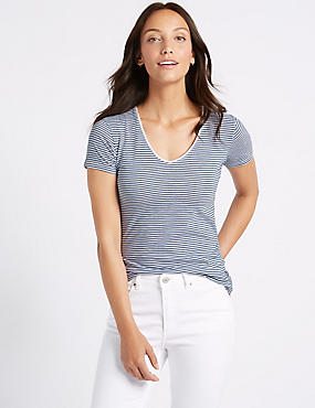 Pure Cotton Striped Lightweight T-Shirt, BLUE MIX, catlanding