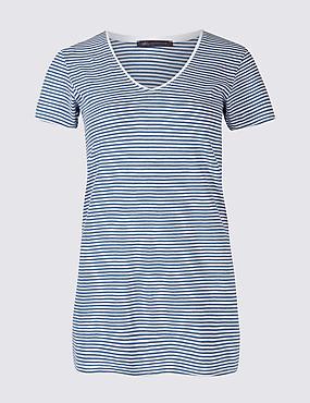 Pure Cotton Striped Short Sleeve T-Shirt, BLUE MIX, catlanding