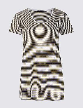 Pure Cotton Striped Short Sleeve T-Shirt, GREEN MIX, catlanding