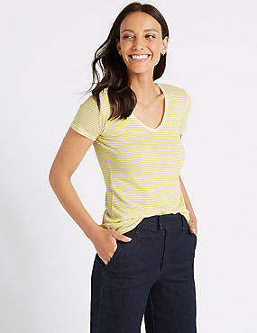 Pure Cotton Striped Lightweight T-Shirt, YELLOW MIX, catlanding