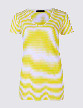 Pure Cotton Striped Short Sleeve T-Shirt, YELLOW MIX, catlanding