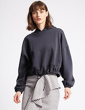 Cotton Rich Cropped Hoody Sweatshirt
