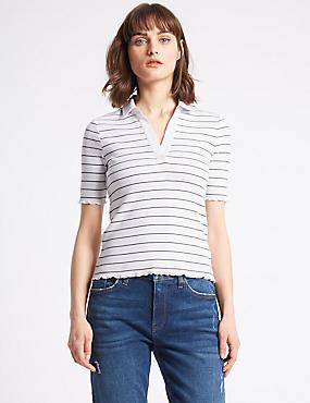 Cotton Rich Striped Short Sleeve Polo Shirt, IVORY, catlanding