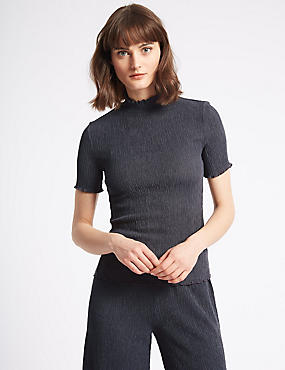 Textured Funnel Neck Short Sleeve T-Shirt