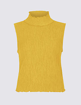 Textured Funnel Neck Sheel Top, OCHRE, catlanding