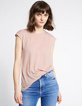 Round Neck Cap Sleeve T-Shirt with Linen, BLUSH, catlanding