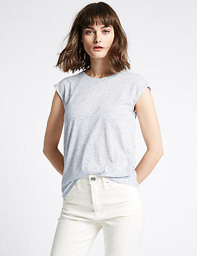 Round Neck Cap Sleeve T-Shirt with Linen, BLUE, catlanding