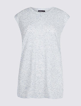 Round Neck Cap Sleeve T-Shirt with Linen, BLUE, catlanding