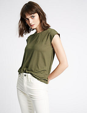 Round Neck Cap Sleeve T-Shirt with Linen, KHAKI, catlanding