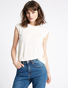 Round Neck Cap Sleeve T-Shirt with Linen, IVORY, catlanding