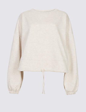 Cotton Blend Textured Cropped Sweatshirt , OATMEAL, catlanding