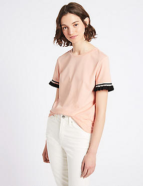 Pure Cotton Frill Short Sleeve Top , PINK MIX, catlanding