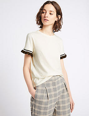 Pure Cotton Frill Short Sleeve Top