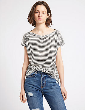 Striped Slash Neck Short Sleeve Top, IVORY MIX, catlanding