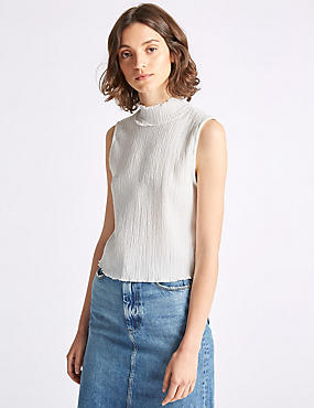 Textured Turtle Neck Shell Top, CREAM, catlanding