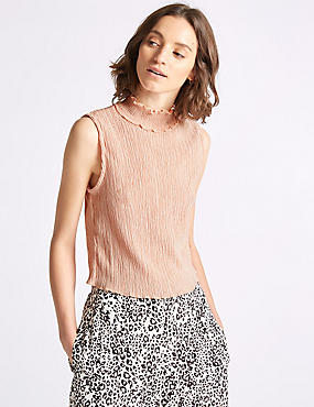 Textured Turtle Neck Shell Top, PEACH, catlanding