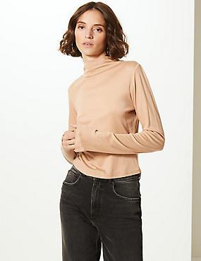 Funnel Neck Long Sleeve Cropped T-Shirt , BUTTERSCOTCH, catlanding