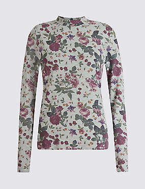 Floral Print Long Sleeve Jersey Top