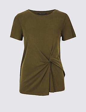 Modal Rich Front Tie Twist T-Shirt