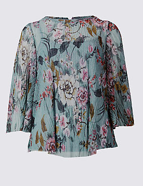 Floral Print Metallic Pleated Blouse