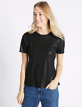 Sparkle Round Neck Short Sleeve T-Shirt
