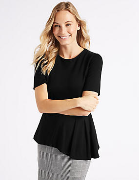 Asymmetrical Hem Short Sleeve Peplum Top