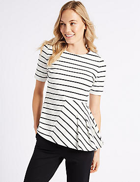 Striped Round Neck Short Sleeve Peplum Top