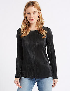 PETITE Crinkle Long Sleeve T-Shirt